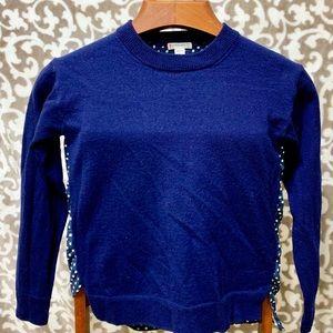 Navy Wool Long Sleeve Sweater Polka Dot Back